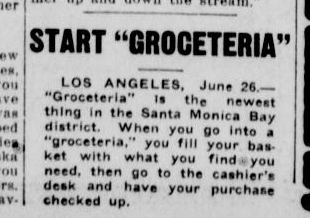 June 16, 1916 Seattle Star article announcing the Los Angeles Groceteria experiment.