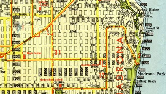 East Union Street section of the 1942 Kroll street map of Seattle (Author's collection; view larger on Flickr)