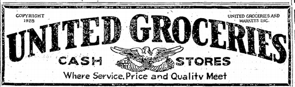 United Groceries logo from July 25, 1929 advertisement in Seattle Times