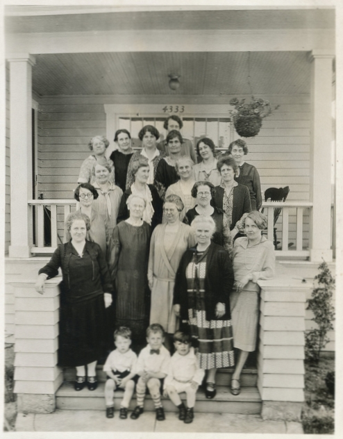 Women in my grandmother's extended family in 1927 on the steps of 4333 Corliss in Seattle's Wallingford neighborhood (photo by Byron Byrd, larger on Flickr).