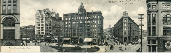 Panorama of Pioneer Square in 1906. The Occidental Hotel on the right was completed in 1890. Other buildings were in planning or under construction.