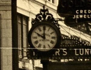 Zoom-in-on Hoeslich clock at 404 Pike Street