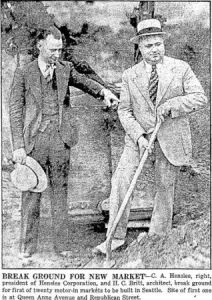 Californian developer C. A. Henslee and architect H. C. Britt at the Motor-In Market groundbreaking (June 17, 1930 Seattle Times)