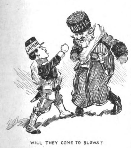 Japan and Russia fight in editorial cartoon from 1904