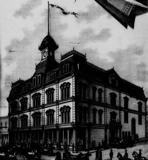Drawing of Opera House with unbuilt clock tower