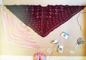 Angela's finished Shawl for Hot Right Now Class