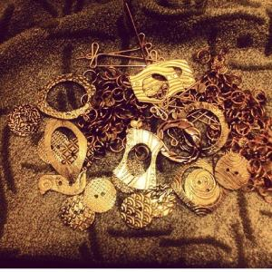 Copper & Brass Shawl Pins and stitch markers