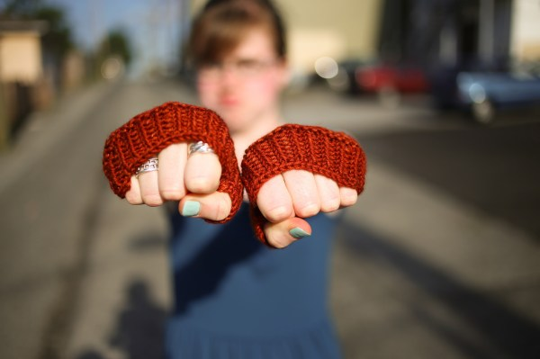 Annie showing off her Fingerless Gloves