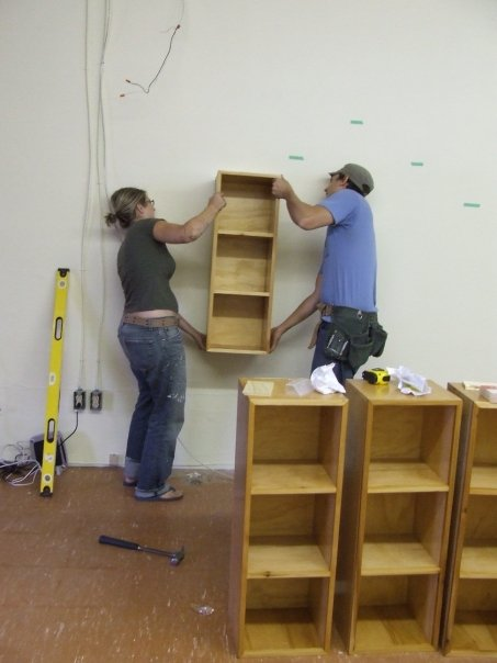 Hanging the first shelf - a big deal!