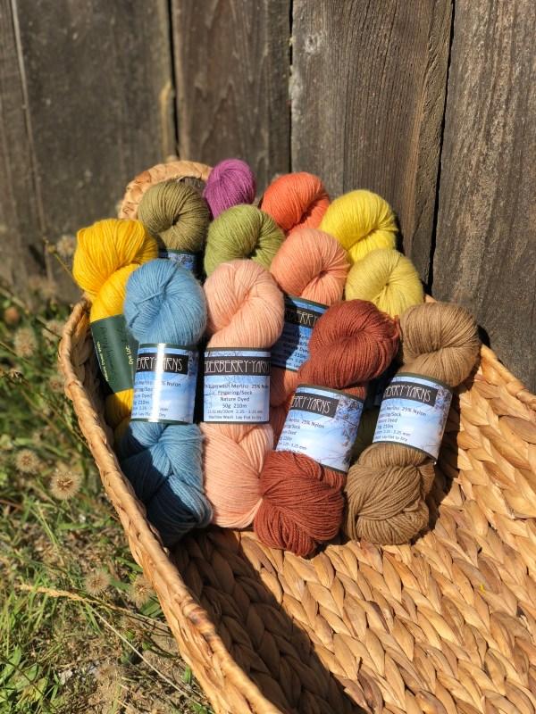 Elderberry Yarns Nature Dyed Sock Yarn at Baaad Annas
