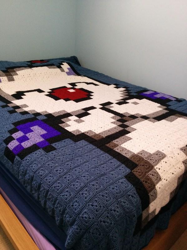 Final Fantasy granny square blanket donation Desert Bus for Hope