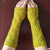 Spin You Round wrist warmers designed by Rebecca. Photo courtesy of Rebecca Glazier.