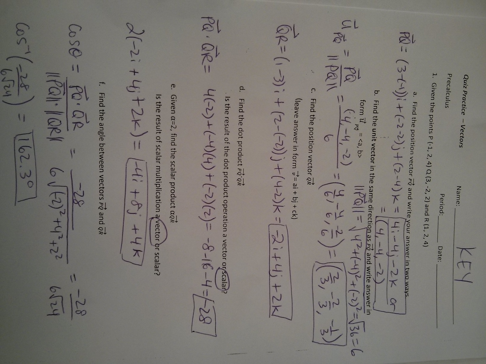 Worksheet Vector Math Practice Answers