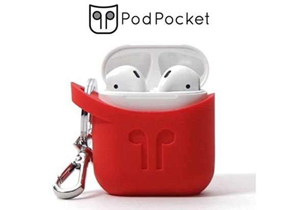 Buy PodPocket Silicone Case For Apple AirPods Blazing Red