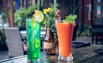 lime juice and fruit shake on glass