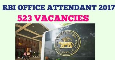 RBI Office Attendant 2017