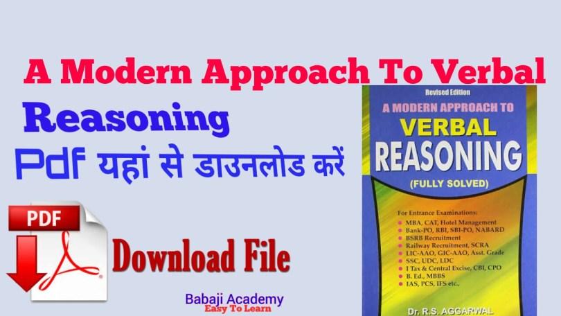 R S Agarwal Reasoning book pdf download