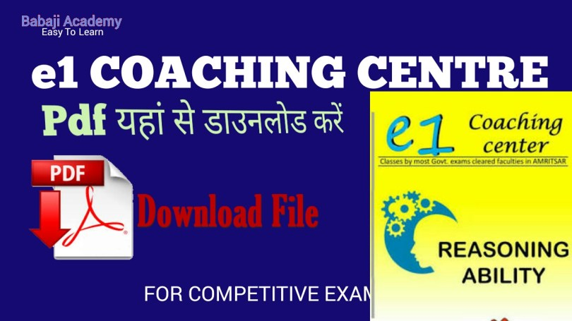 e1 coaching reasoning book pdf