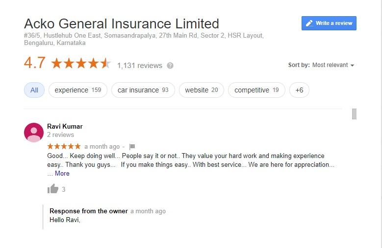 Acko General Insurance Mobile Car Bike Insurance Policy Online