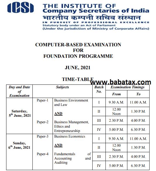 cs foundation timetable