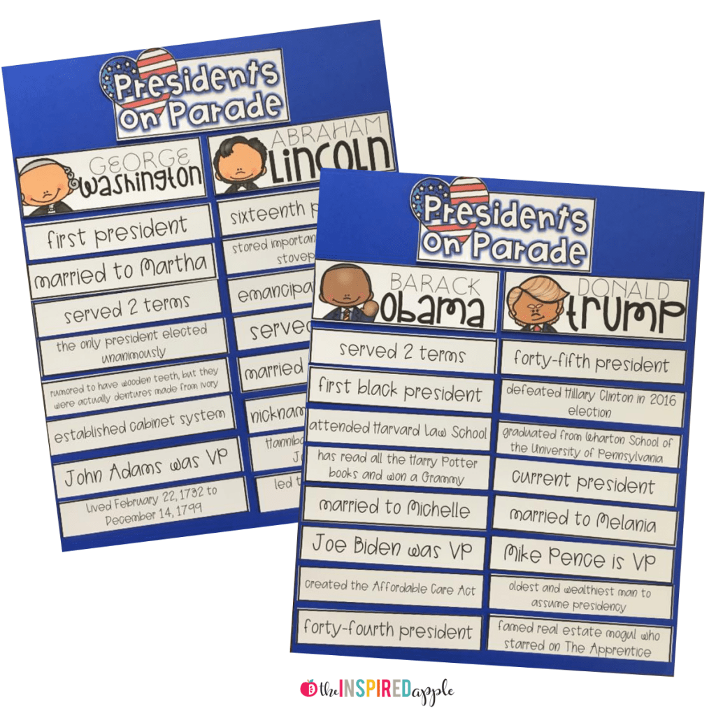 Presidents Day Activity With Fact Sorting