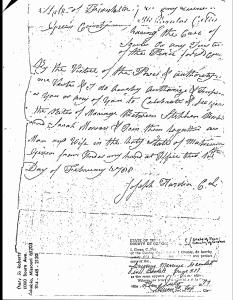 Stephen Babb (1-2-2-1-6) & Sarah Morrow Marriage-Greene Co, TN Book A, Page 577