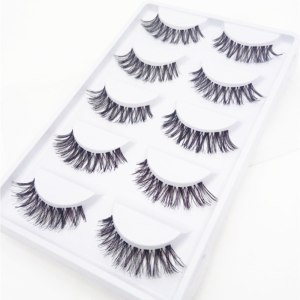 5 Pairs Natural Fashion Eyelashes Eye Makeup Handmade Cross Long False Lashes 1