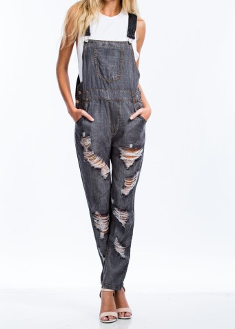 Destroyed Chambray Overalls