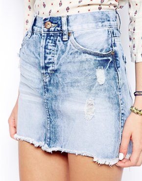 New Look Ripped Denim Mini Skirt