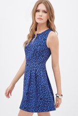 Pleated Leopard Tea Dress