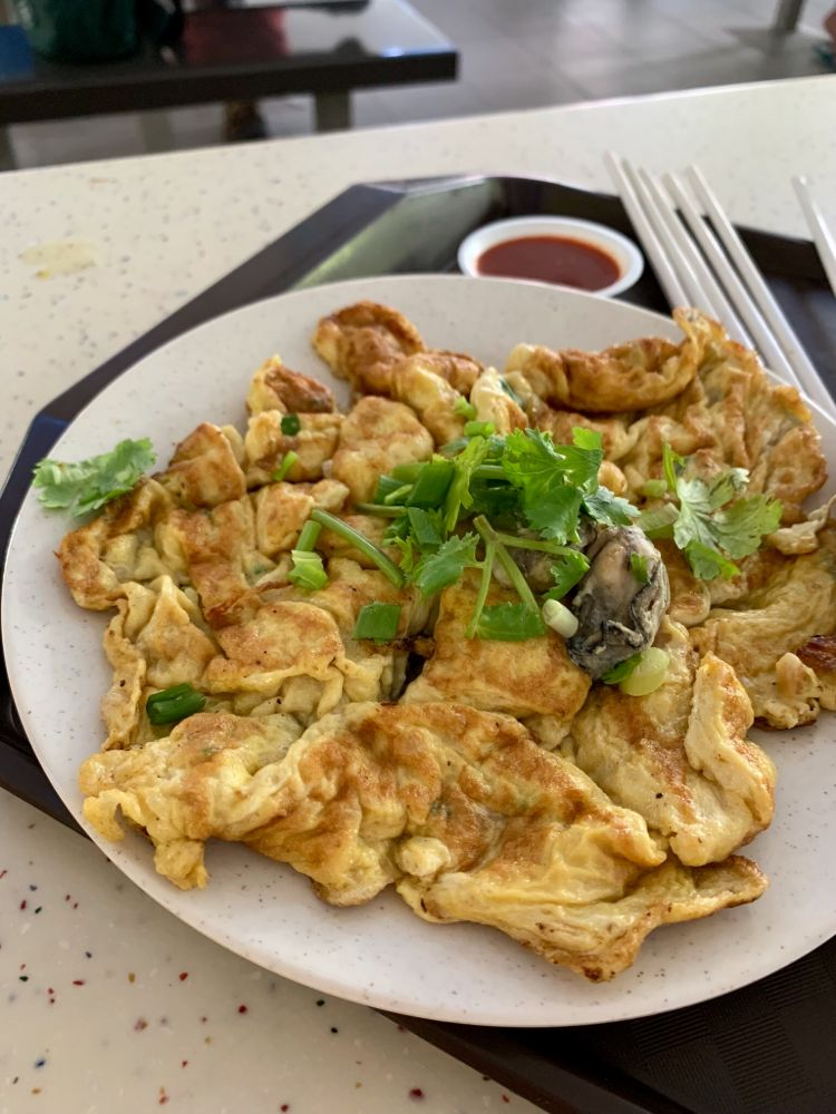 Fresh oyster omelette with