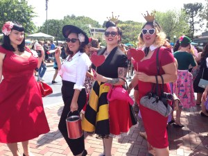 Lovely ladies celebrating the Queen of Hearts at Pinup Parade