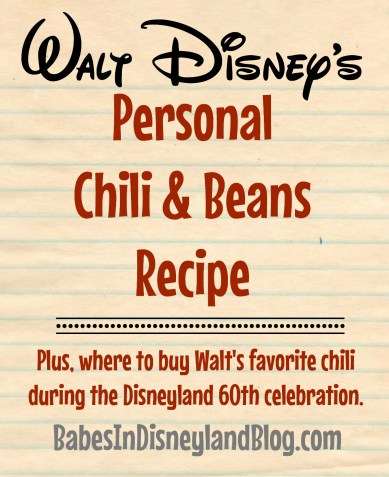 Walt Disney's personal chili and beans recipe