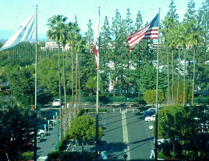 "From my window in the Fantasy Tower of the Disneyland Hotel, I watched the pre-corral tent ""city"" being constructed. It's THAT close!"