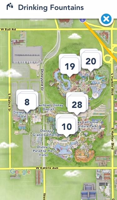 Disneyland app drinking fountains