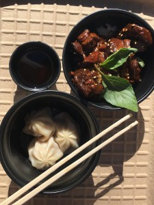 Pork soup dumplings and Three Cup Chicken