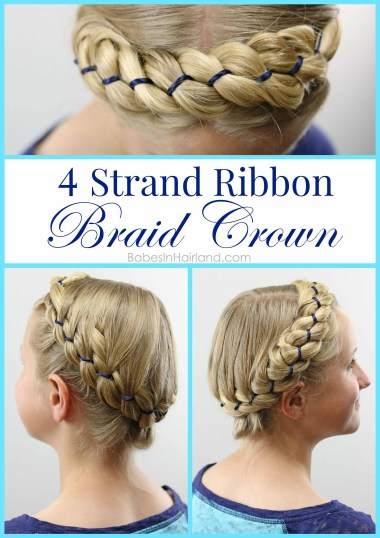 Add some color to a 4 strand braid by adding ribbon. This gorgeous 4 Strand Ribbon Braid Crown is just gorgeous. BabesInHairland.com | hairstyle | hair