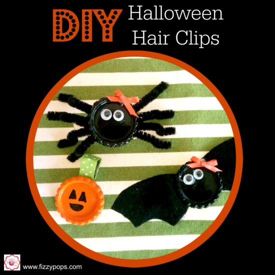 DIY Halloween Hair Clips #hair #bat #spider #pumpkin #halloween