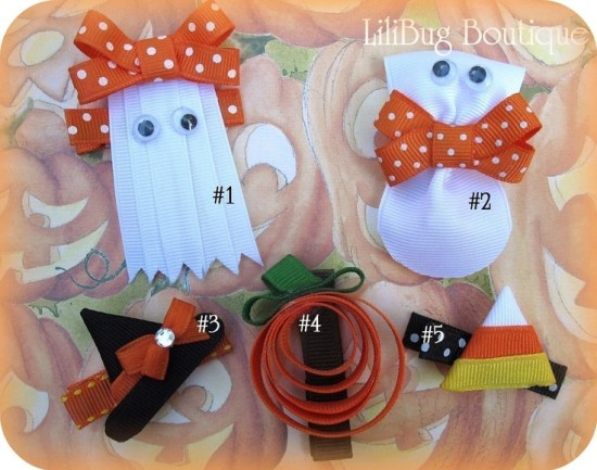 Halloween Ribbon Clips #ghost #pumpkin #halloween #hair