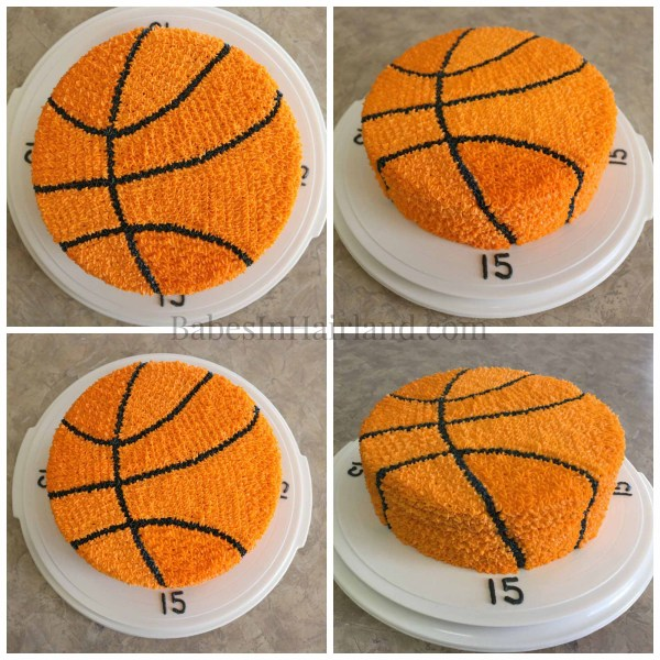 This birthday cake is perfect for the sport or basketball lover in your life. It looks and tastes great! BabesInHairland.com | cake | birthday | ball | frosting |
