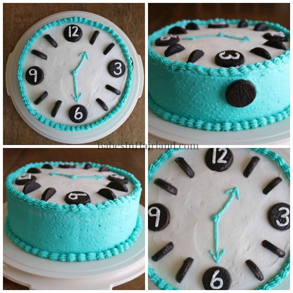 If you have a watch or clock lover at your house, this cake takes no time at all!! BabesInHairland.com | birthday cake | frosting |