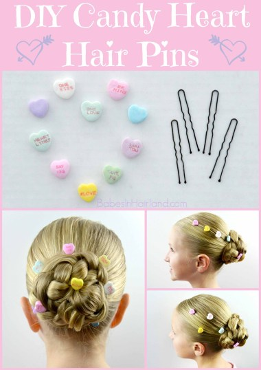 Candy Heart Hair Pins for Valentine's Day from BabesInHairland.com #valentinesday #hearts #hair #accessories