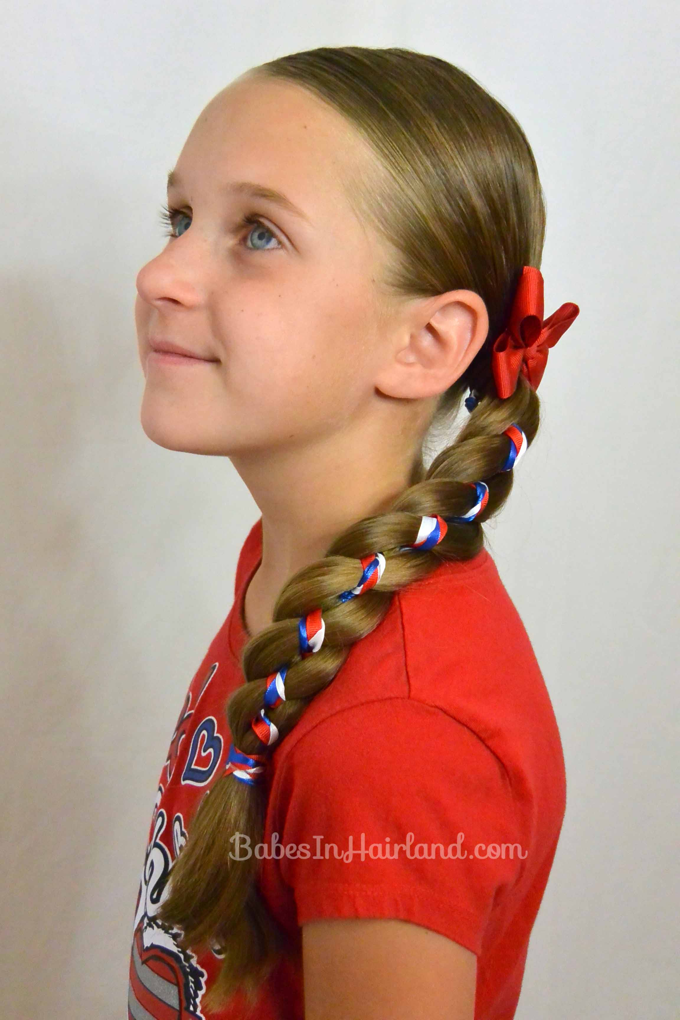 4th of july hair styles ribbon braid in a 4 strand braid 4th of july hairstyle 5284