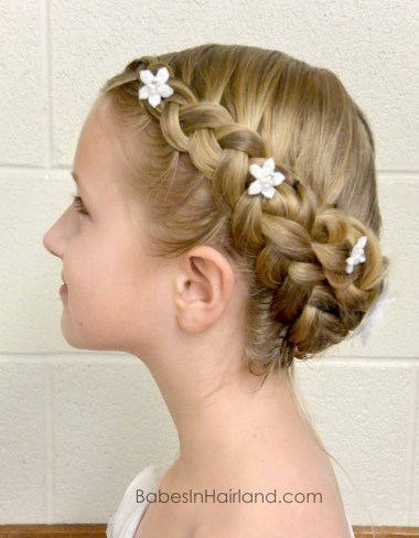 Dutch Braided Baptism Hairstyle from BabesInHairland.com #baptism #lds #mormon #braids #dutchbraids #hair