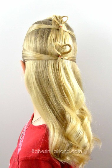 Double Floating Hearts| Valentine's Day Hairstyle from BabesInHairland.com #valentinesday #heart #hair #hairstyle