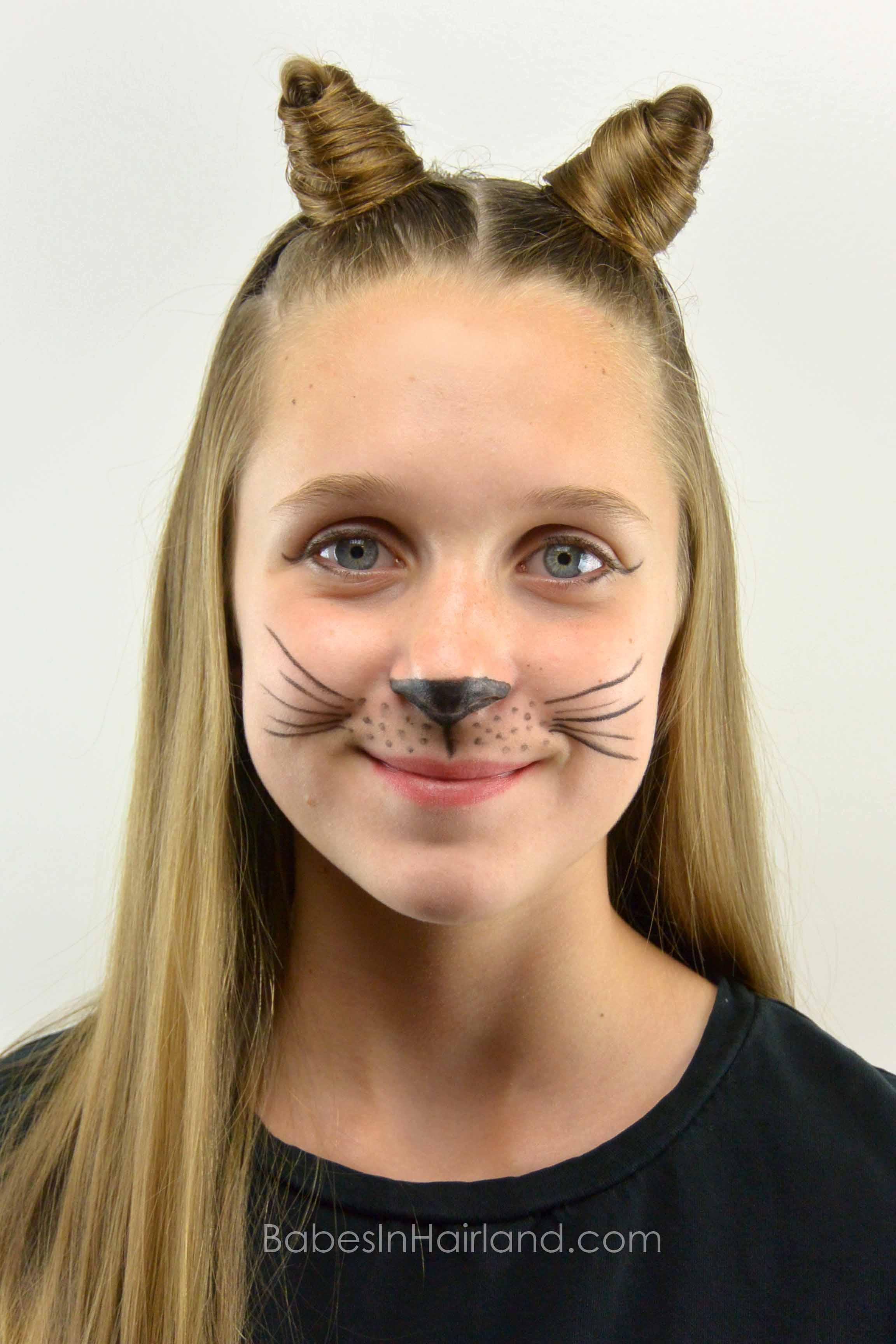 Cat Ears Using Your Own Hair 2 Halloween Hairstyle