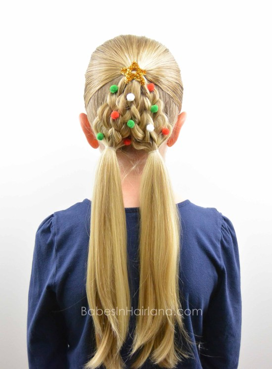 Braided Christmas Tree Hairstyle from BabesInHairland.com #christmas #christmastree #hairstyle #hair #braids