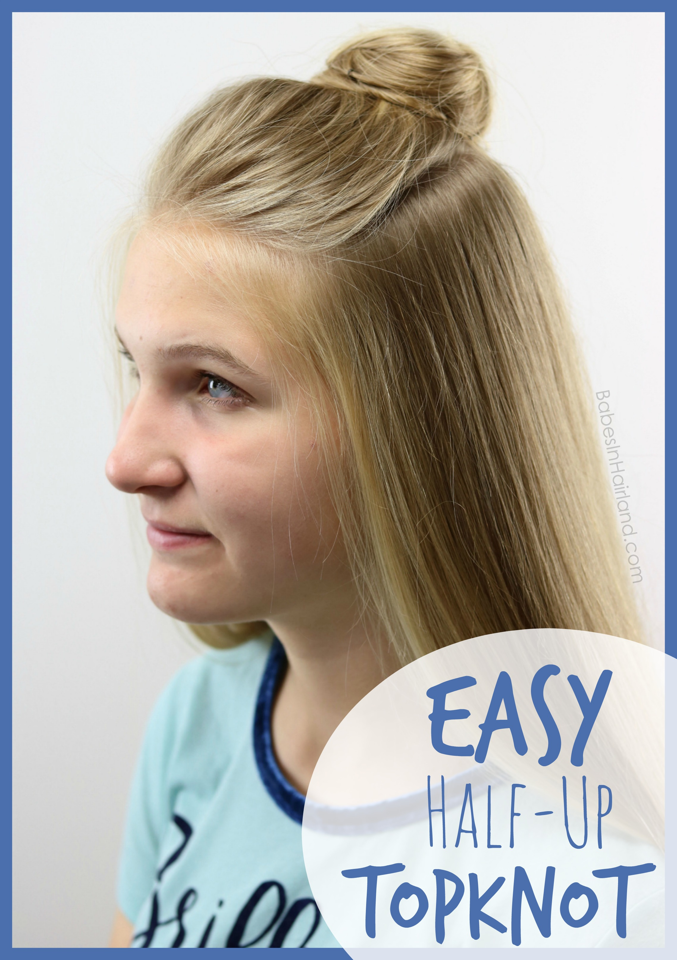 Be out the door in minutes with this quick & easy half-up topknot hairstyle  tutorial from BabesInHairland.com | teen hairstyle | bun | hair