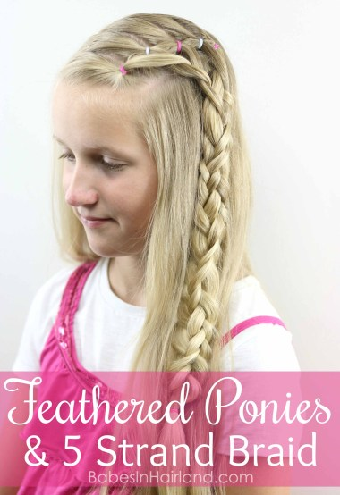 Keep hair out of your face with this cute Feathered Ponies and 5 Strand Braid hairstyle from BabesInHairland.com | hair | braids | video