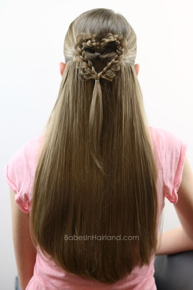 Girl's will just love this cute and easy Valentine's Day Braided Doily Heart Hairstyle from BabesInHairland.com | braids | hair | Valentine's Day